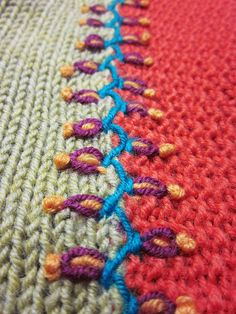 "Embroidery.  Possible ""fix"" for my knitting mistakes on that blanket."