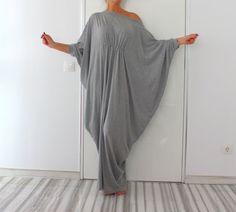 Langen grauen Maxi Kleid Abaya Kleid von cherryblossomsdress