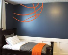 Basketball Lines Wall Decal has been one of our top sellers for years! It looks like a ball is bursting from your corner... a huge visual statement in your room with minimal effort. #basketball