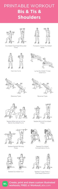 Bis & Tis & Shoulders: my visual workout created at WorkoutLabs.com • Click through to customize and download as a FREE PDF! #customworkout