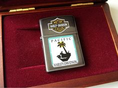 1995 Zippo Harley Davidson Pacific Tree and Motorcycle Lighter
