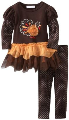 Amazon.com: Bonnie Baby-Girls Infant Turkey Applique Tutu Legging Set, Brown, 24 Months: Clothing