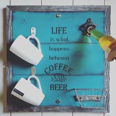 For the love of coffee and beer because we can enjoy the best of both worlds. Shown in our distressed teal finish. beer painting Updates from UrbanAlloy on Etsy Wine Signs, Beer Signs, Coffee Signs, Craft Bier, Life Is What Happens, Beer Bar, Wine And Beer, Bar Drinks, Hanging Signs