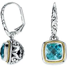 Stunning Bright Blue Colored Swiss Blue Topaz are Displayed in These Fabulous Sterling Silver Filigree Earrings With an 18K Yellow Gold Accent. The Antique Square Cut Gem is 10.00 mm. NOTE: The very f