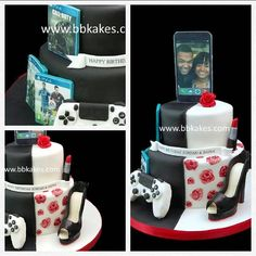 Two tier black and white twins personal cake by bbkakes #cake #birthdaycake #celebrationcake #twins #blackandwhite #shoe #lipstick #ps4 #playstation4 #fifa #callofduty #creedassassin #handpaintedroses