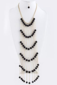 Long Fashion Pearl Necklace | PEARL BALL TIERED LONG NECKLACE SET