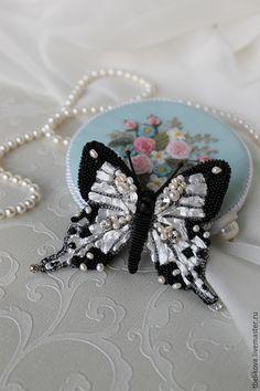 Купить Брошь Бабочка BR 2015-6. - черно-белый, бабочка, брошь, брошь бабочка