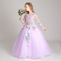 Flower Fairy Lilac Flower Girl Dresses 2017 Ball Gown V-Neck Sleeve Appliques Flower Floor-Length / Long Ruffle Wedding Party Dresses Lilac Flower Girl Dresses, Princess Flower Girl Dresses, Flower Girls, Kids Pageant Dresses, Girls Dresses, Dresses Dresses, Bridesmaid Dresses, Wedding Party Dresses, Marie