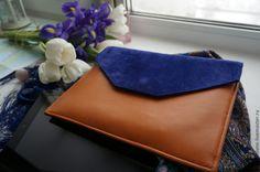 Купить Клатч кожаный замшевый,оранжевый,сумка для iPad - сумка для ipad, клатч, яркая сумка