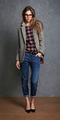 Jackwillis_Lookbook_fall_2013 Boyfriend dark wash jeans that are rolled up, gray tweed (?) Coat, red plaid shirt and brown leather bag Fall/Winter