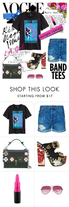 """""""I'm With the Band: Band T-Shirts"""" by lacas ❤ liked on Polyvore featuring Superdry, Fendi, FAUSTO PUGLISI, MAC Cosmetics, Ted Baker, bandtshirt and bandtees"""