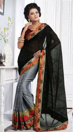 Grey orange and black saree