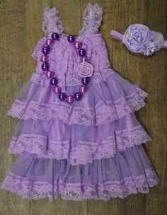 Lilac Lace Dress Set, 3pc dress set, necklace, headband, Baby Girl Lace Dress, Lace Flower Girl Dress