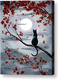 Black Cat in Silvery Moonlight Canvas Print by Laura Iverson