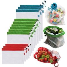 Stop Wasting Plastic and Start Reusing Eco-friendly Reusable Grocery Produce Bags Now! These bags are washable, durable, foldable and reusable for grocery and storage. Washable and reusable for grocery and storage. Storing Plastic Bags, Fruit And Vegetable Storage, Fruit Storage, Vegetable Garden, Eco Friendly Bags, Reduce Reuse Recycle, Reusable Grocery Bags, Produce Bags, Toy Storage