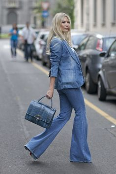'70s style suiting in denim on denim.