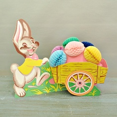 Vintage Beistle Easter Bunny and Cart with by JustVintage2 on Etsy, $10.00