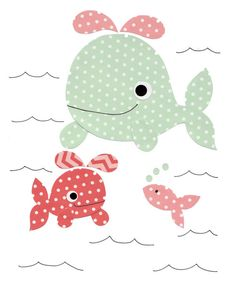 1603 Pink and Light Green Happy Whales Nursery Artwork Print Baby Room Decoration Kids Decor wall art Gifts Under 50