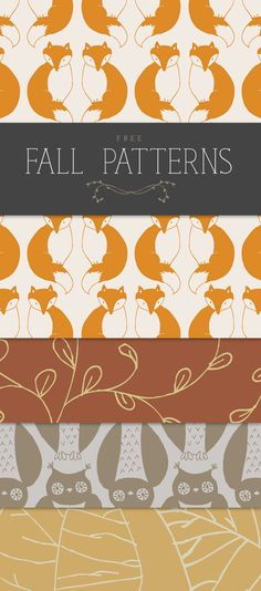 Free Fall Patterns. So fun! I love the fox one :) These would cute to wrap a little gift in.