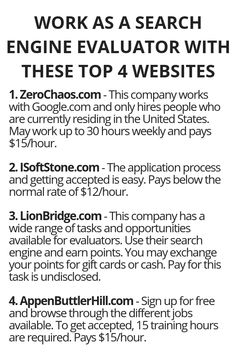 Work As A Search Engine Evaluator With These Top 4 Websites - Wisdom Lives Here Ways To Earn Money, Earn Money From Home, Earn Money Online, Money Tips, Way To Make Money, Online Income, Legit Work From Home, Work From Home Jobs, Home Party Business