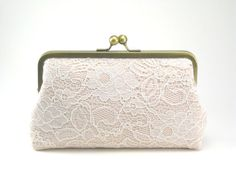 Antoinette Clutch : Ivory on Seashell Pink - Wedding Clutch - Lace Purse - Vintage Clutch - Bridal Purse    Can add different patterns inside there is a tea party looking one would be perfect maybe bridesmaid presents :)