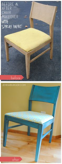 BEFORE & AFTER CHAIR MAKEOVER USING SPRAY PAINT + A GLAZE FINISH