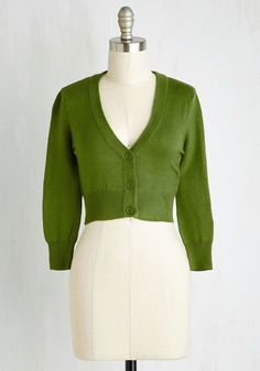 The Dream of the Crop Cardigan in Olive. Looking for a stylish green sweater to add a dollop of darling to your wardrobe? #green #modcloth