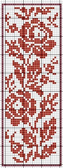 This technically is a knitting pattern, but it doubles as a cross stitch. Cross Stitch Bookmarks, Cross Stitch Borders, Cross Stitch Rose, Cross Stitch Flowers, Cross Stitch Charts, Cross Stitching, Cross Stitch Embroidery, Cross Stitch Patterns, Filet Crochet