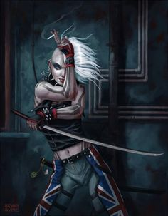 shadowrun; female, human; adapt; sword; white-haired
