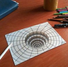 Photo shared by Art Explorer on May 2016 tagging 3d Pencil Drawings, 3d Art Drawing, Cool Drawings, Drawing Lessons, Art Lessons, Illusion Kunst, Illusion Drawings, 3d Illusion Art, Drawings Pinterest