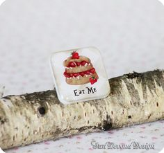 Ring with cake Alice in Wonderland Gift idea by SunDevonaDesign, $16.00