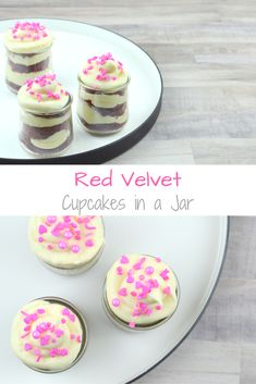 The perfect Valentine's Day dessert: Red Velvet Cupcakes in a Jar are moist, soft cupcakes layered with rich, fluffy cream cheese frosting. Cupcake Recipes, Baking Recipes, Dessert Recipes, Drink Recipes, Great Desserts, Delicious Desserts, Yummy Food, Fluffy Cream Cheese Frosting, Valentines Day Desserts