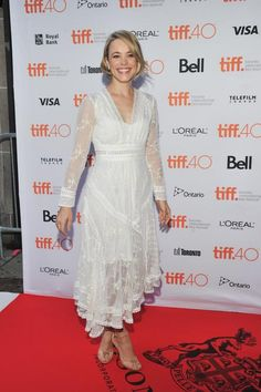 Beloved Canadian actress Rachel McAdams read the iconic role of Buttercup in the live read of The Princess Bride at TIFF. Her semi-formal white lace frock was perfect for the occasion.