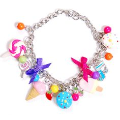 Candy Charm Bracelet ($14) ❤ liked on Polyvore featuring jewelry, bracelets, accessories, necklaces, candy and charm bracelet