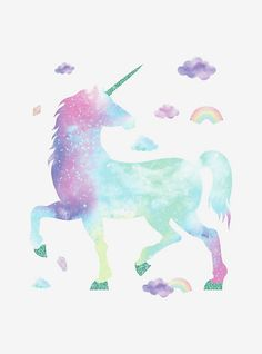 Take your kid's room up a notch with ease with these Room Mates galaxy unicorn wall decal. Unicorn Rooms, Unicorn Room Decor, Unicorn Bedroom, Unicorn Art, Unicorn Eyes, Rainbow Unicorn, Wall Stickers, Wall Decals, Unicorn Wall Decal