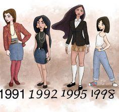 Belle, Jasmine, Pocahontas, and Mulan: | Gorgeous Retro Disney Princesses