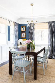 Navy & Gold Mid-Century Dining Room