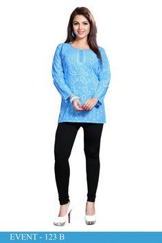 Full Sleeve Blue American Crepe Printed Short Kurti - Crepe Kurtis / Tunics Manufacturer & Exporter | Kurtisindia