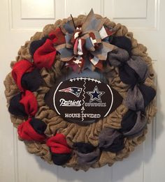 A personal favorite from my Etsy shop https://www.etsy.com/listing/481450364/new-england-patriots-wreath-dallas