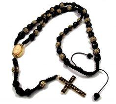 Rosary, cross, cameo, beads, gothic jewelry
