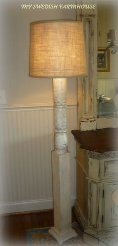 Grand Porch Column Distressed White Washed Floor Lamp. $225.00, via Etsy.