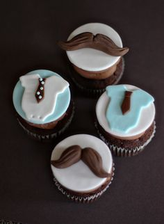 Fondant Mustache, Tie and Bow Tie Onesie Toppers for Birthday or Baby Shower Cupcakes, Cookies or Mini-Cakes. via Etsy.