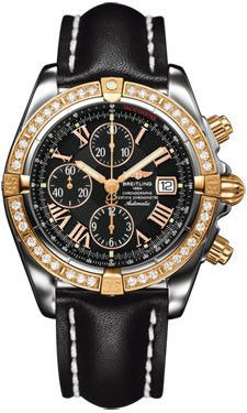 Breitling Chronomat Steel & RG Diamonds LeatherBlack Tang C1335653/B821