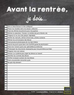 Une liste de tâches – avant la rentrée, je dois…