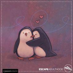 Penguin Hug by Jason Kotecki. of so adorable! Penguin Hug, Sassy Quotes, Make Me Smile, Penguins, Comic Art, Branding Design, Disney Characters, Fictional Characters, Cute Animals