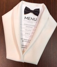 Getting ready for New Years Eve! Tuxedo napkin folded menus :) Beautiful centrepieces and place setting ideas for events and parties New Year's Eve 2019 : menu costume noeud papillon mariage - Quotes Boxes This tuxedo jacket napkin fold would be ideal for Wedding Decorations, Table Decorations, New Years Eve Decorations, New Years Eve Party, New Years Eve Menu, New Years Wedding, Event Decor, Wedding Reception, Dress Wedding