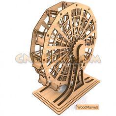 Laser-cut wooden mini Ferris wheel - 12-bucket version. Ours will be bigger!