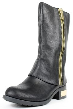 Vince Camuto Winivie Black Leather Mid-Calf Boots