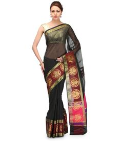 Loved it: Bunkar Black Supernet Banarasi Saree With Blouse Piece, http://www.snapdeal.com/product/bunkar-black-supernet-banarasi-saree/638625405146