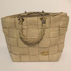 Made in Italy woven purse Very cute light gray and off white woven purse. One pocket( on the side) inside of large zipper opening. 2 small handles. One little red pen mark inside. Nothing else wrong, Alma Creazioni Bags